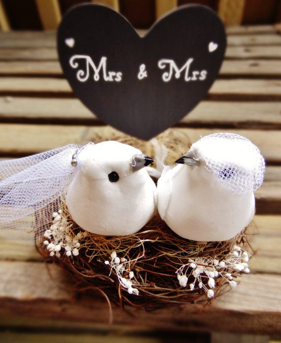 Two Love Birds in a nest Cake Topper - rustic chic wedding - lovebirds - birds nest topper - same sex wedding - mrs and mrs - gay