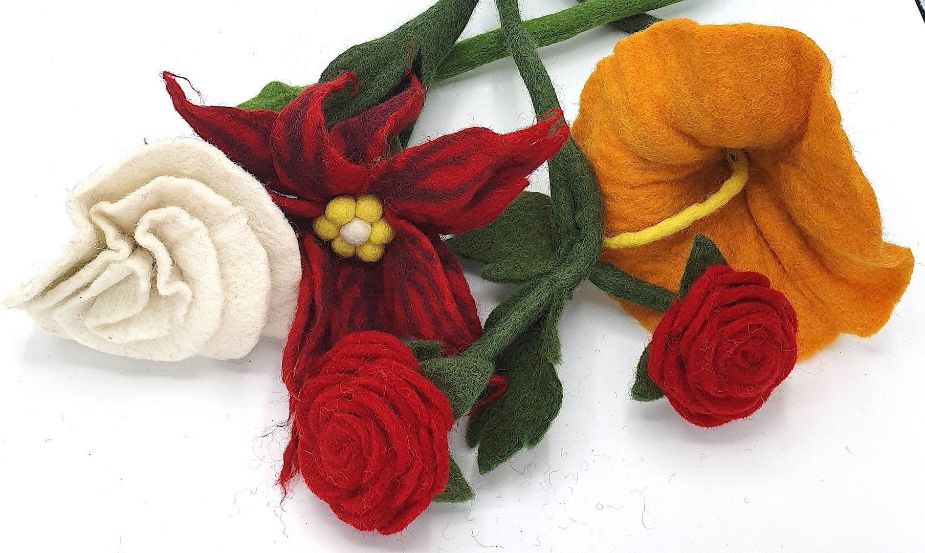 Hand Felted Fair Trade Brooch Rose Flower Petals Bright Colours Ethical Gift
