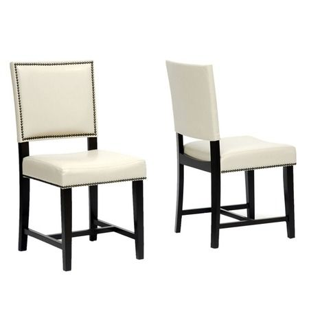 I Pinned This Nottingham Dining Chair In Cream Set Of 2 From The Baxton Faux Leather Dining Chairs Contemporary Leather Dining Chair Cheap Dining Room Chairs