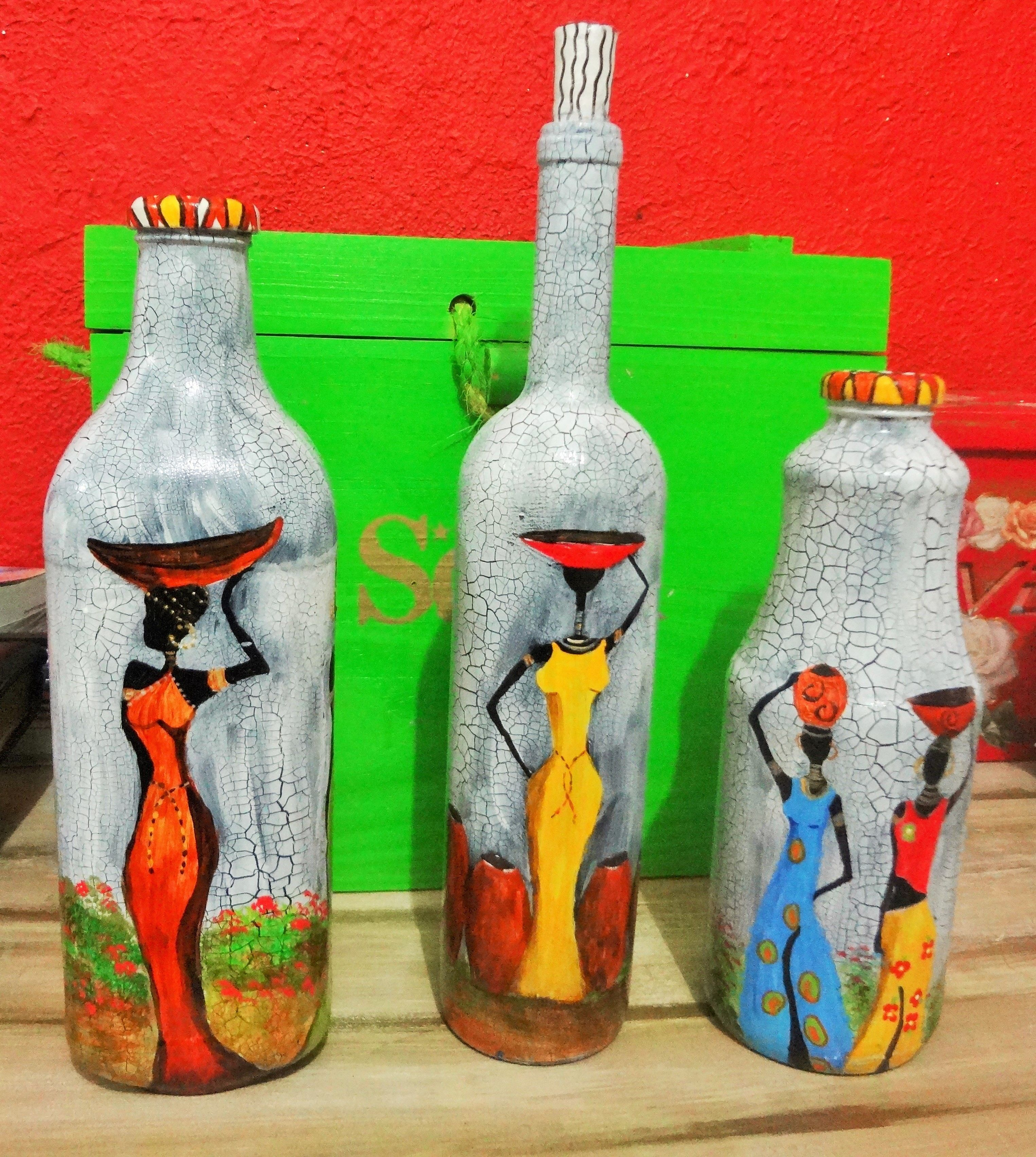 Conjunto Garrafas Africanas Ms Bottle PaintingBottle
