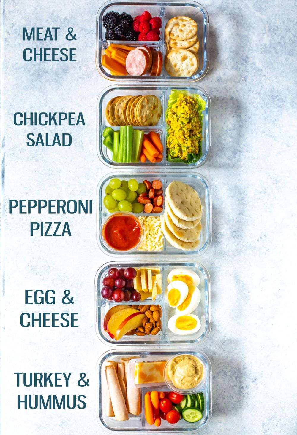 These Healthy Bento Lunch Box Recipes are perfect for back to school and are like adult lunchables! Try pizza, turkey & hummus, egg & cheese and more! #bentoboxlunch