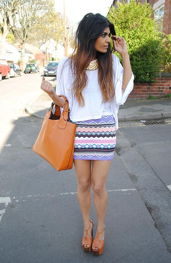 patterned tight skirt, oversized tee