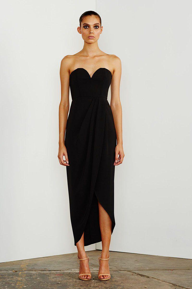 f05bfdc3124 CORE  U  BUSTIER DRAPED DRESS - BLACK