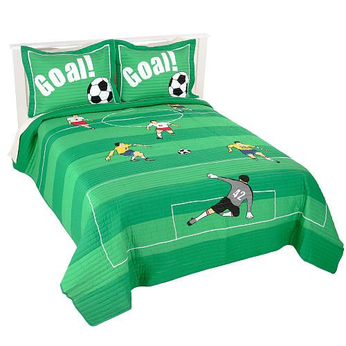 Soccer Bedrooms Green Soccer Bedding For Boys Full Queen Pc - Boys sports bedding sets twin