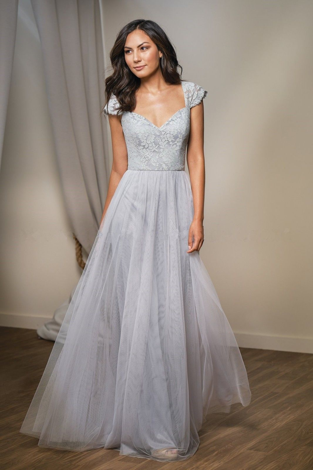 Cap sleeve tulle bridesmaid evening formal dresses lace wedding