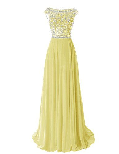 3a7d3e5175c Tidetell Elegant Floor Length Bridesmaid Cap Sleeve Prom Evening Dresses  Yellow Size 2 Tidetell http