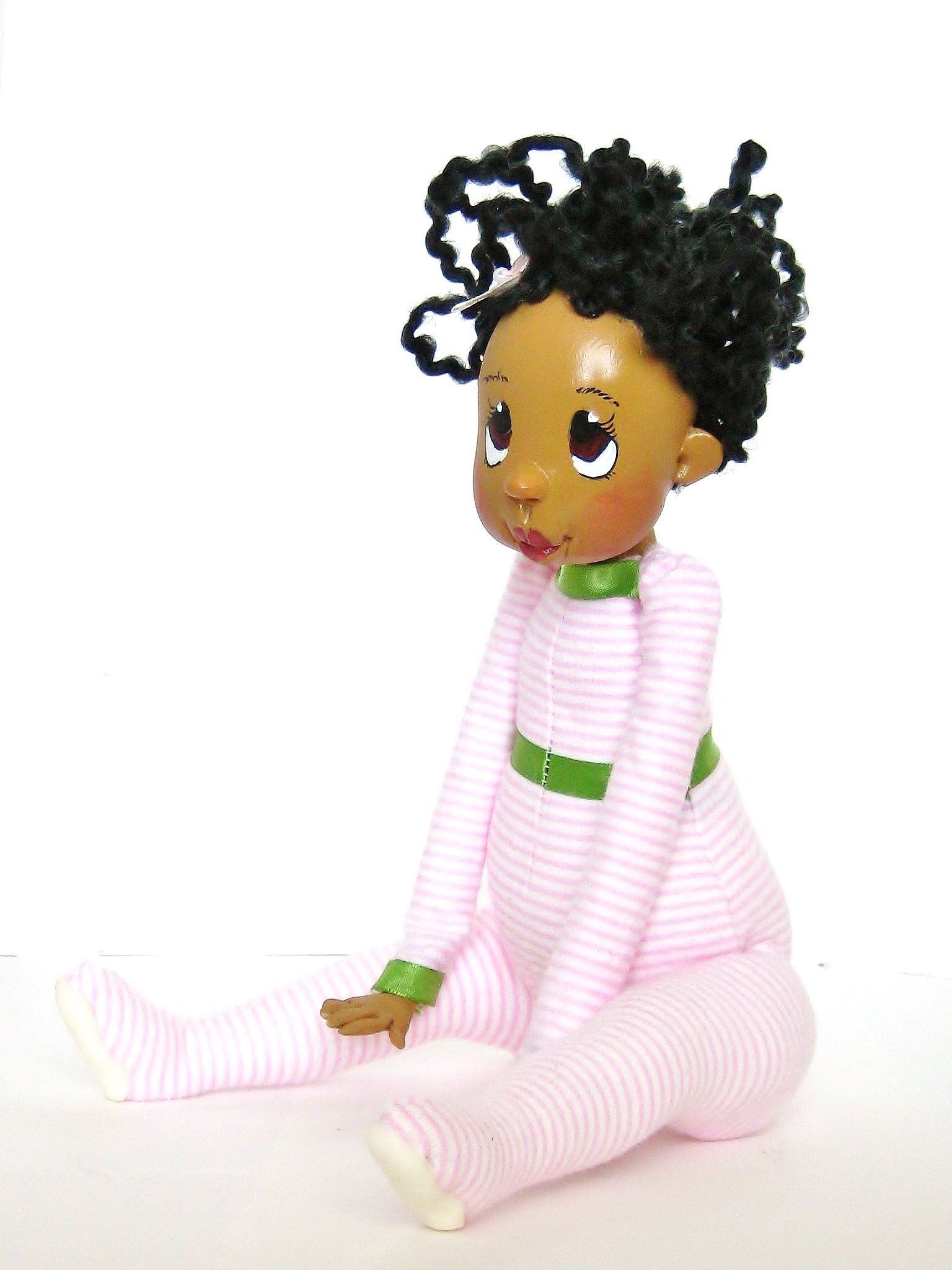 African American Clay Art Doll Pink And Green Dolls By