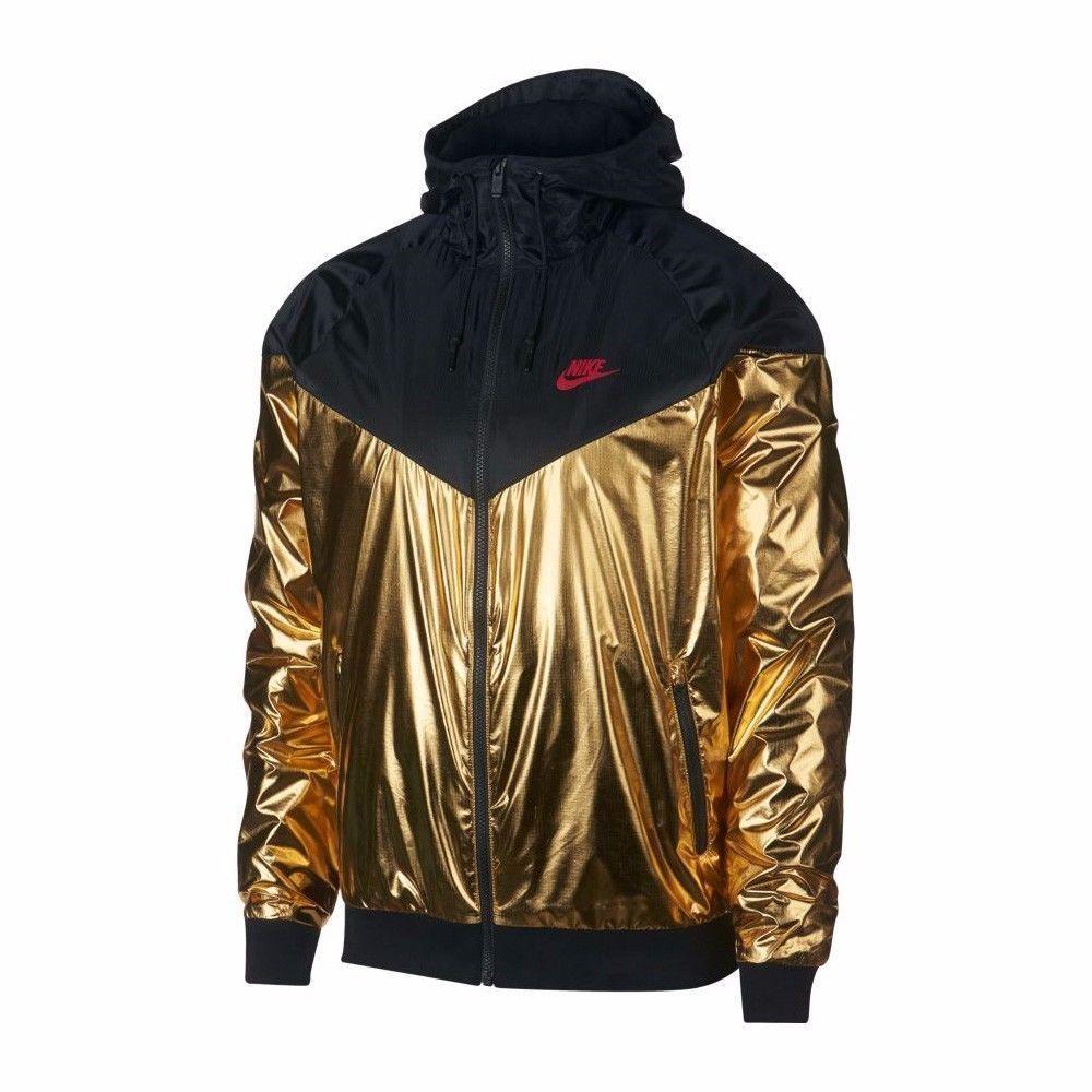 8bdabc6cee49 Nike SPORTSWEAR WINDRUNNER JACKET Black Gold Foil Men s Sz XXL 2XL (924515  707)  Nike  Hoodie