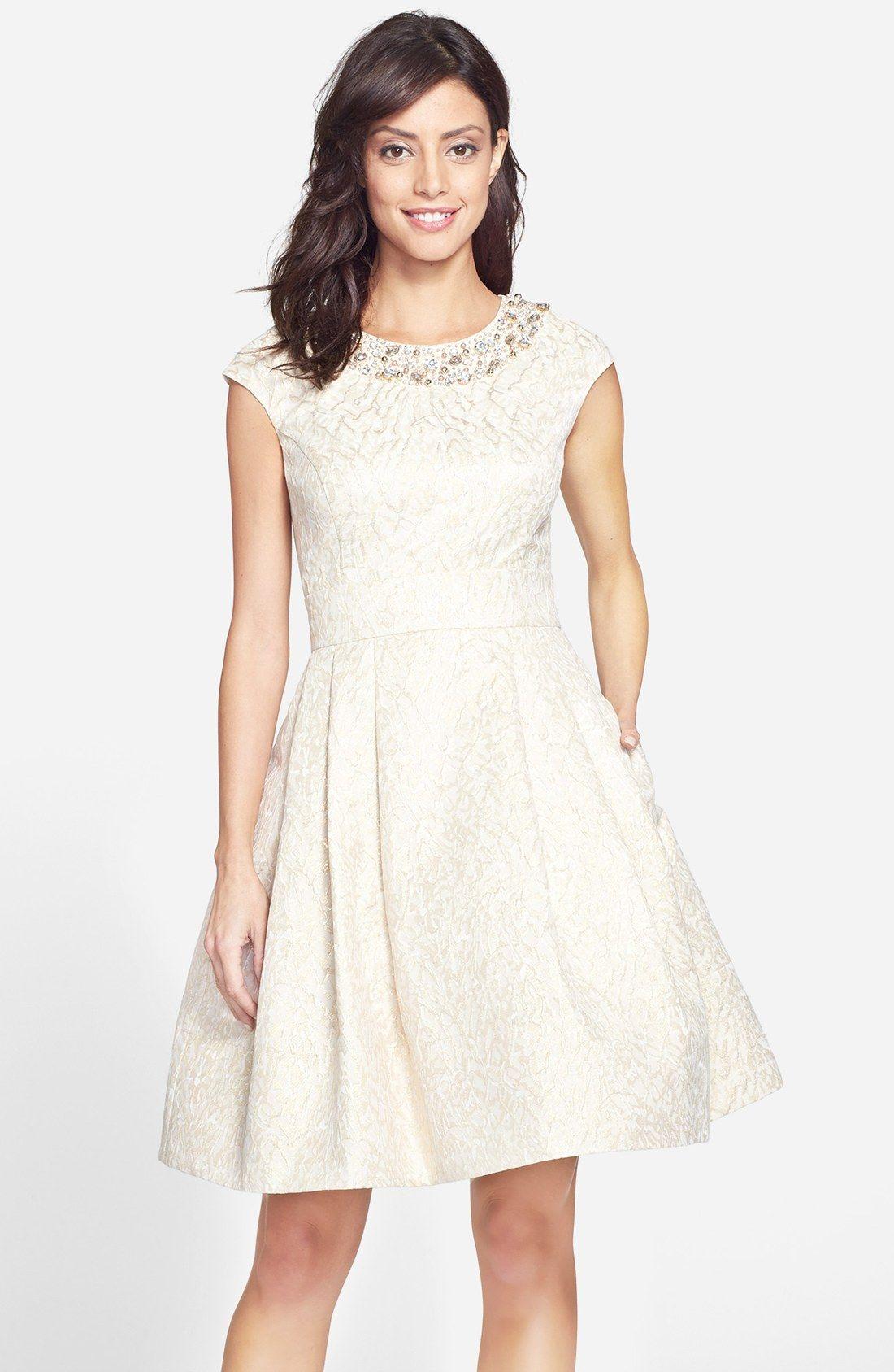 Fit and flare dress wedding  Eliza J Embellished Jacquard Fit u Flare Dress  showered with love