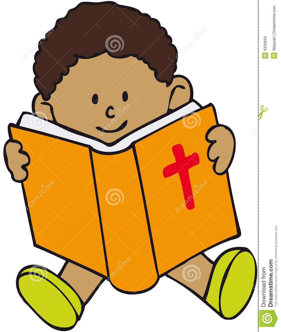 Reading Bible Clip Art . -haired Child Sat