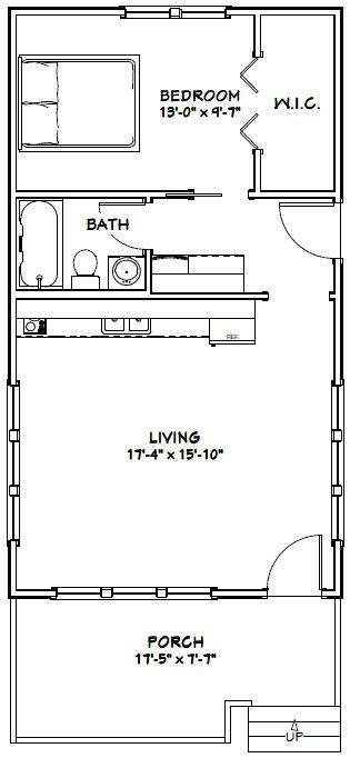 18x32 Tiny House 576 Sqft Pdf Floor Plan Model 1