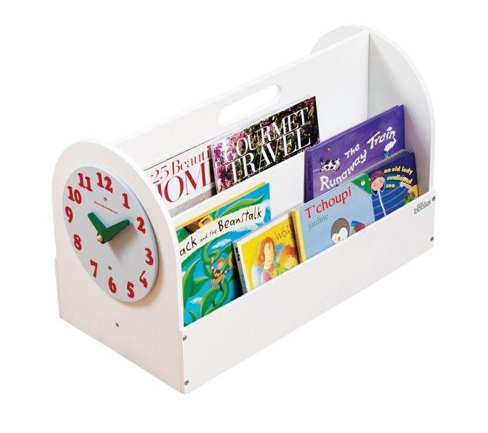 Aufbewahrung für Kinderbücher Tragbare Bücher-Box aus Holz, weiss