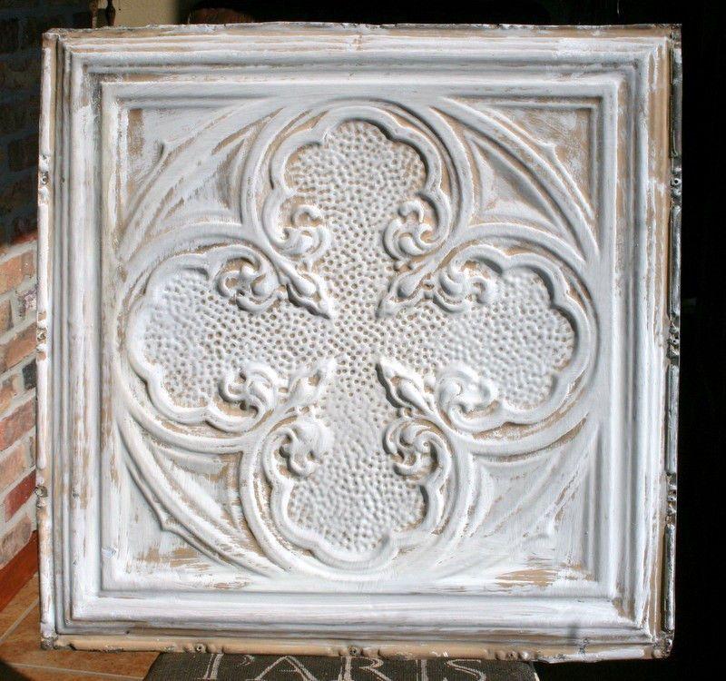 "24"" Antique Tin CeilingTile -- White and Tan Colored Paint - Pretty Design"