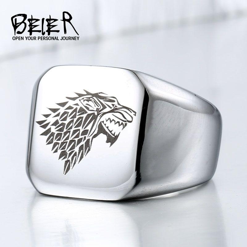 Une Chanson de Glace et Le Feu Game of Thrones Maison Stark Winterfell Wolfe Bague Chevalière Acier Inoxydable Hommes Animal Bijoux BR8-274