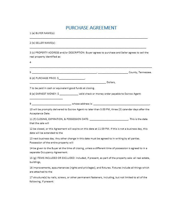 Purchase Agreement Template - When it has to do with agreements