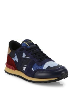 9a3707724283 VALENTINO Rockrunner Denim Camo Studded Sneakers.  valentino  shoes   sneakers