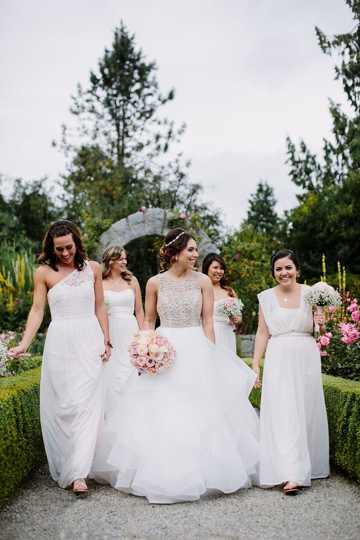 Bride and white mismatched bridesmaid dresses for June Wedding   Fab Mood