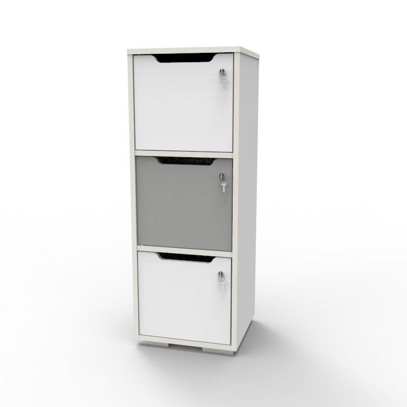 Casier Vestiaire En Bois Caseo3 3 Cases Blanc Gris Casier Vestiaire Casier Bois Casier