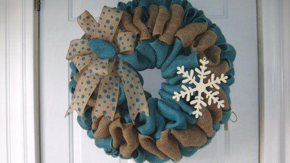 Winter Snowflake Wreath  Blue Snowflake Burlap by wreathsplusbylyn, $50.00