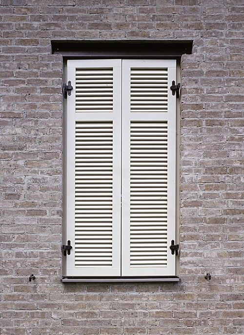 Faux window with real shutter with wood beam on top | H o u s e W ...