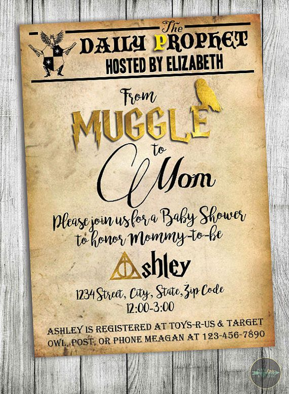 Custom Harry Potter Baby Shower Invitation Muggle To Mom