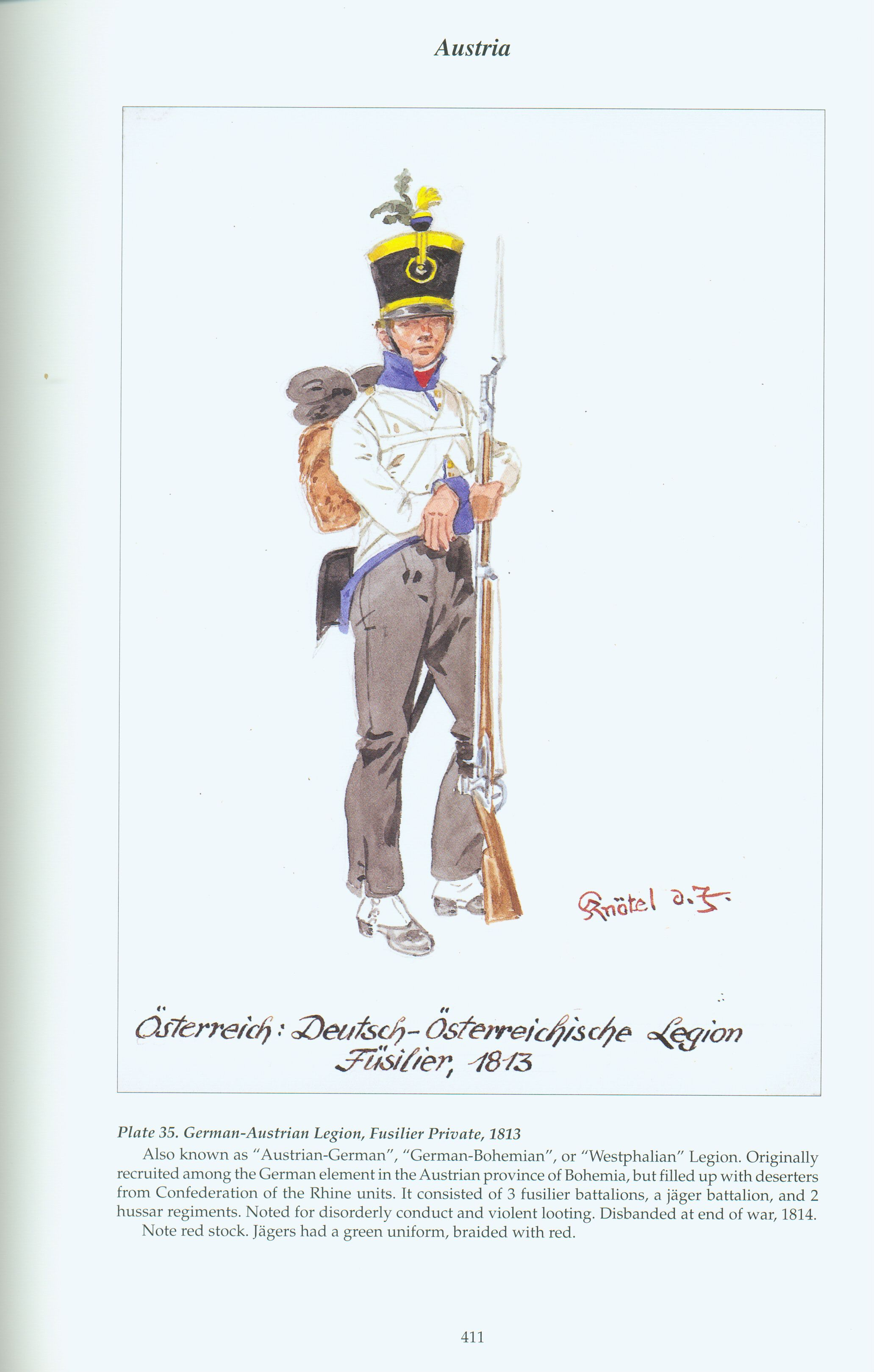 Austria: Plate 35. Foreign Troops: German-Austrian Legion, Fusilier Private, 1813