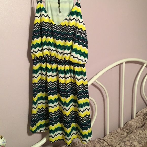 Adorable summer dress! Only worn once, summer dress with straps. Very cute chevron pattern. Cute with wedges! Dresses Mini