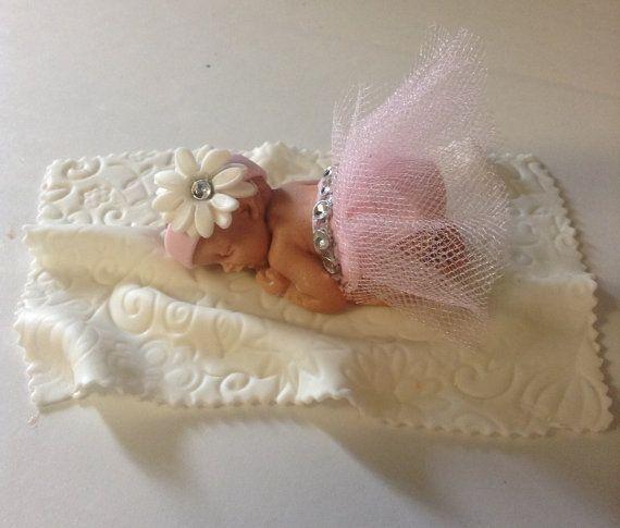BALLERINA BABY SHOWER Tutu Cake Topper Fondant Cake Topper Baby Girl