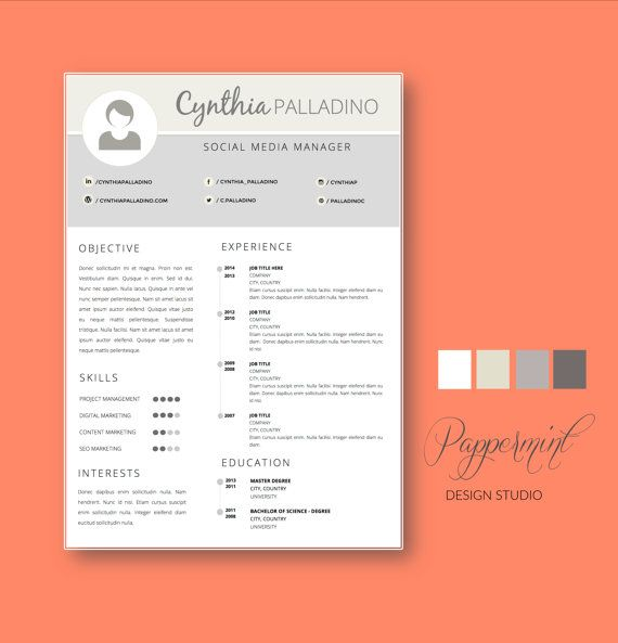 Microsoft WORD Resume Template CV and Cover Letter #resume #cv