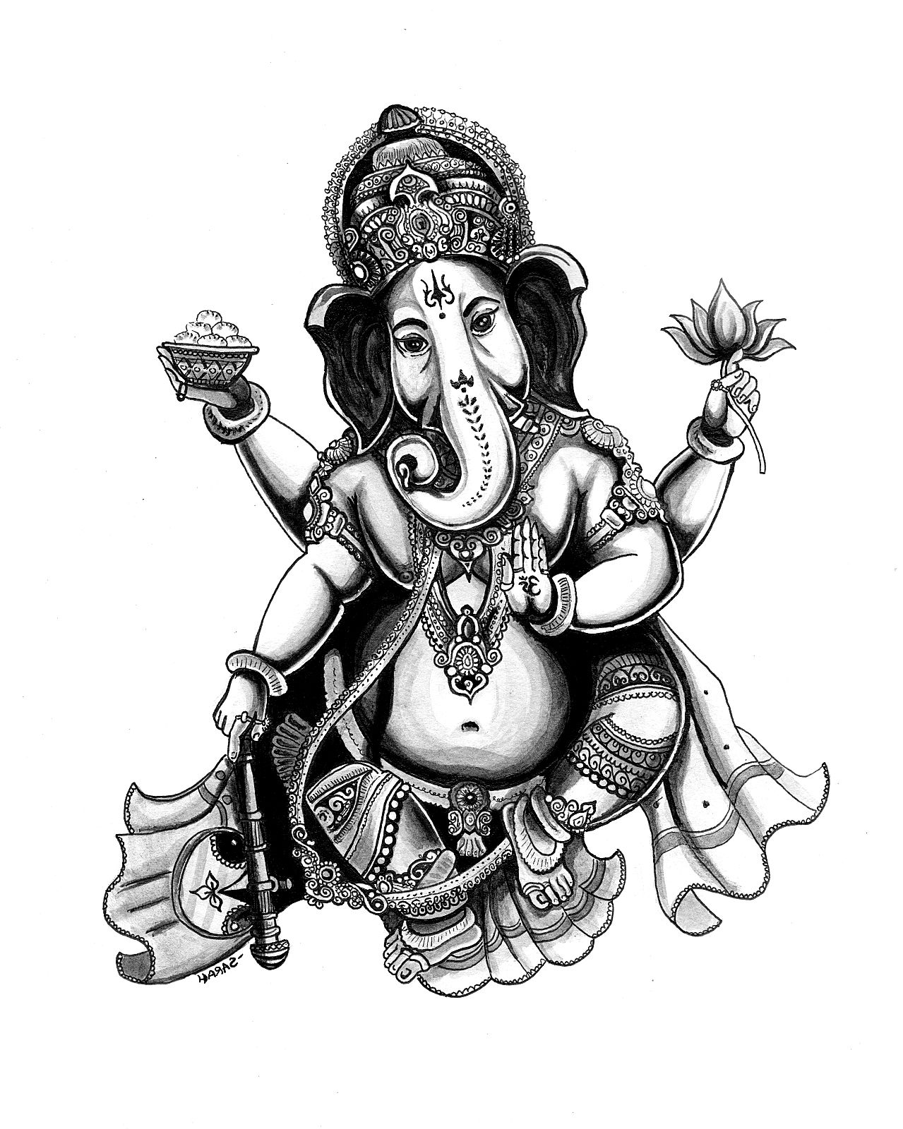 Coloring page of Ganesha, God of wisdom, awarness and intelligence ...