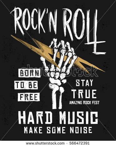 Rock festival poster. Rock and Roll sign. Slogan graphic for t shirt ... 92bea98e40