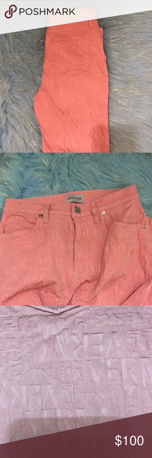 Vesace Classic women's pants Pretty in pink Versace Classic pants. They're embossed cotton/elastic blend. They need dry cleaned, they've got wrinkles from being stored. Versace Pants