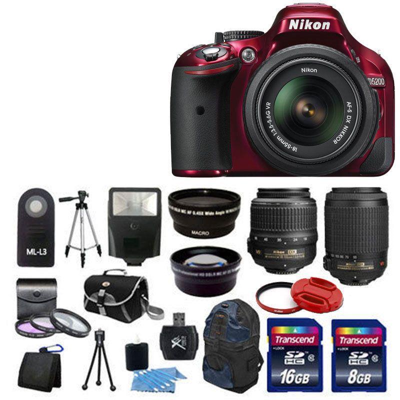 Nikon D5200 Digital SLR Camera Red + 4 Lens 18-55mm 55-200 +24GB Complete Kit #Nikon