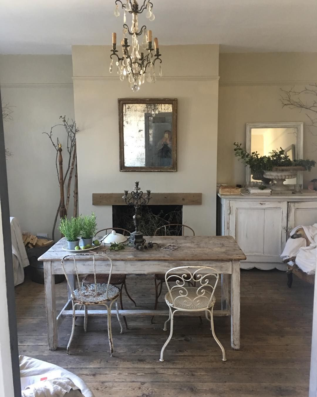 "Photo of Hello on Instagram: ""Calm styling relaxed interiors #styling #stylists #natural #naturalhome #antiques #decorative #mutedcolours #foxedmirrors #chandeliers"""