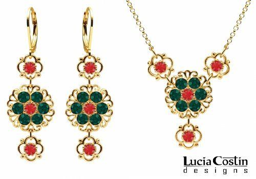 14K Yellow Gold Plated over .925 Sterling Silver Necklace and Earrings Flower Set by Lucia Costin with Lovely Flowers and Filigree Accents, Set with Red and Green Swarovski Crystals; Handmade in USA Lucia Costin. $124.00. Floral jewelry set by Lucia Costin. Handmade in USA unique jewelry set. Style takes wings in this lovely jewelry set that have a graceful flower shape. Delightfully designed with scarlet and emerald Swarovski crystals. A perfect feminine touch