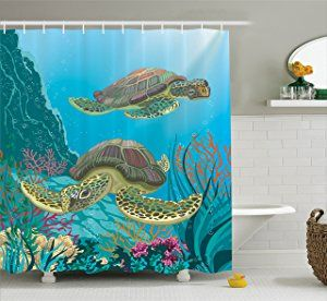 Sea Animals Decor Shower Curtain Set By Ambesonne, Illustration Of Two Sea  Turtles Swimming Underwater Aquatic Colorful, Bathroom Accessories, X Inches
