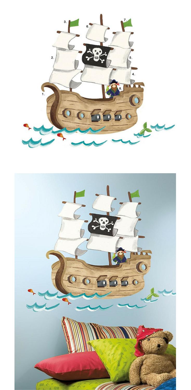 Blickfang Piraten Wandtattoo Dekoration Von Piratenzimmer: Piratenschiff | Wandgestaltung Für Ein Kinderzimmer