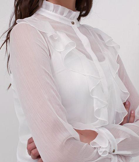 Camisa feminina Manga longa Com gola padre Com babados Marca