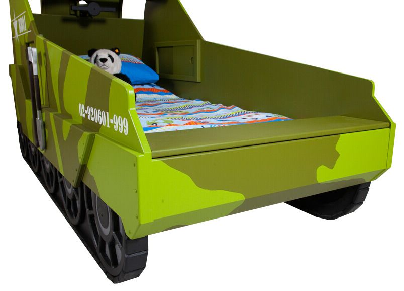 Baby Bedroom In A Box Special: Army Tank Themed Bed - Showing In-built Toy Box.