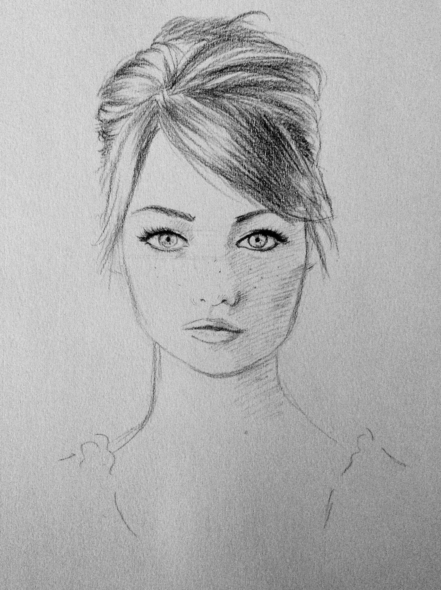 Drawing sketch big eyes pencil character design reference freckles pretty woman girl beautiful portrait how to draw hair