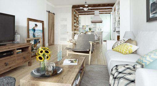 Salón, comedor y cocina con decoración rústica urbana | decorar en ...