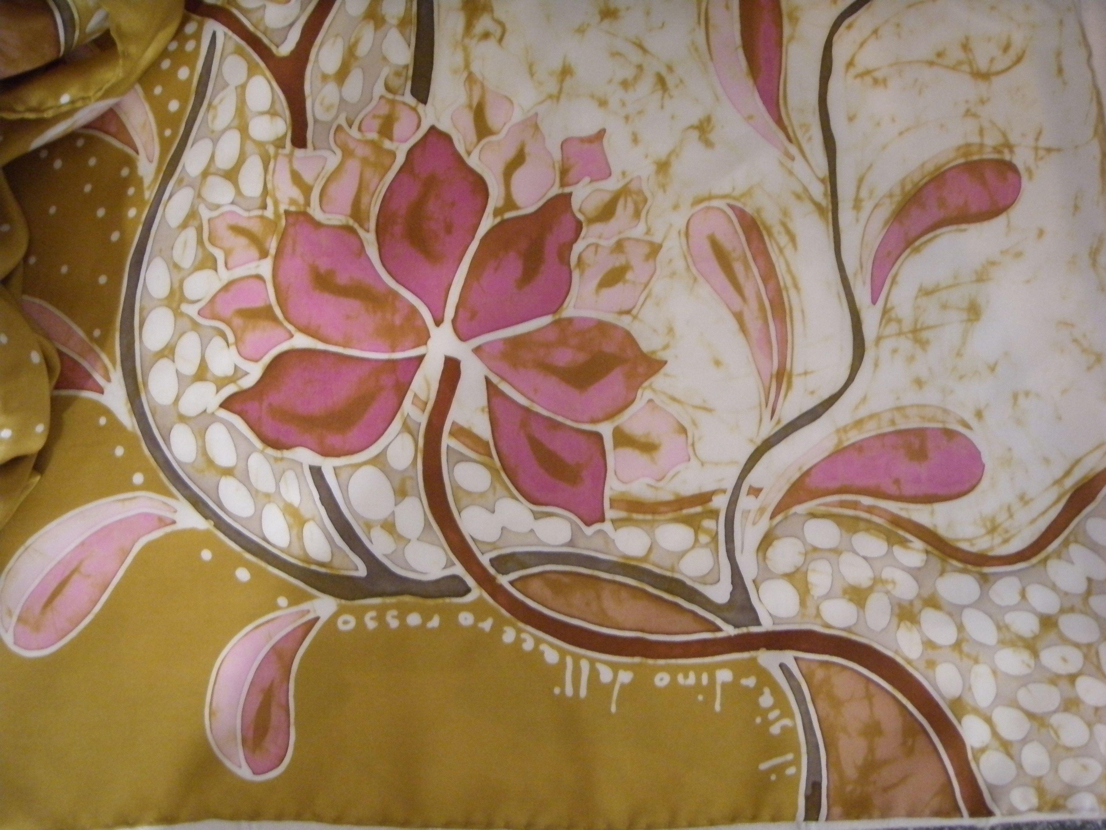 """""""Peonies"""" batik su seta - www.ilgiardinodellacerorosso.com"""