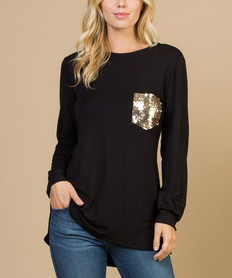ac9fa634a16f Acting Pro Black & Gold Glitter Chest-Pocket Hi-Low Top - Women | zulily