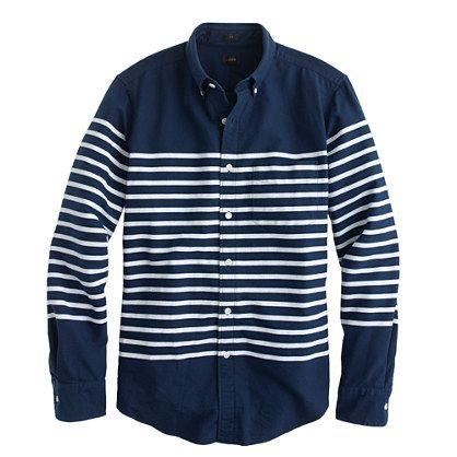 J crew slim vintage oxford in horizontal stripe woven for Horizontal striped dress shirts men