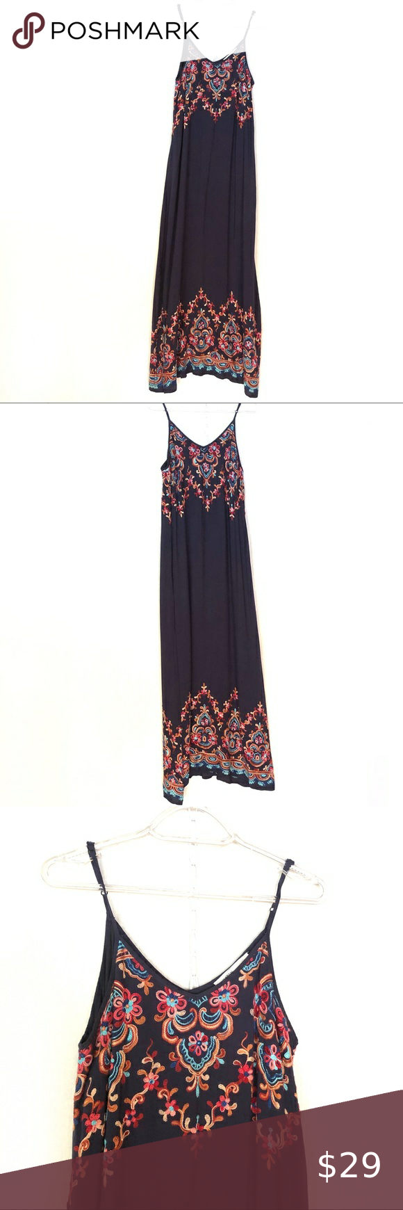 Karen Kane Maxi Dress With Embroidered Detail Maxi Dress Dresses Maxi Dress Navy [ 1740 x 580 Pixel ]