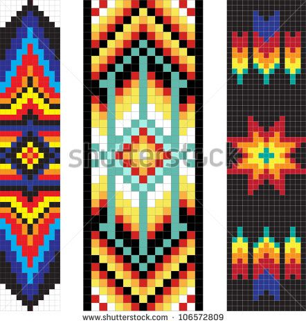 Vertical Traditional Native American Patterns Vector Stock-Vektorgrafik (Lizenzfrei) 106572809