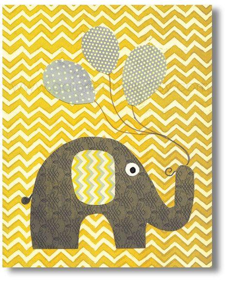 Chevron yellow and gray Nursery art prints baby by GalerieAnais, $14.00