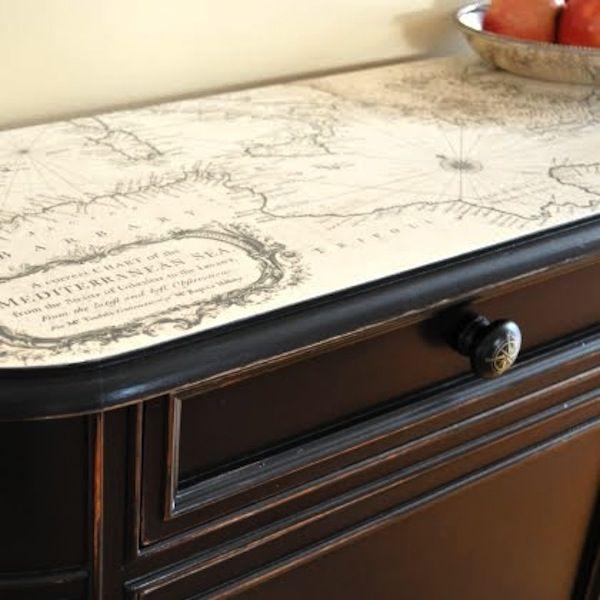 Nautical Map Decoupage Topper Nautical Furniture Cupboard Makeover Nautical Decor