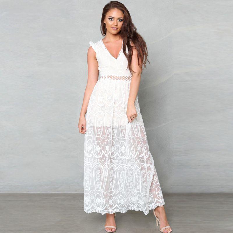 ZTVitality Lace Patchwork Women Dresses V-Neck Backless Sleeveless Vestido De Festa Hollow Out Party Dress Perspective Vestidos #Affiliate