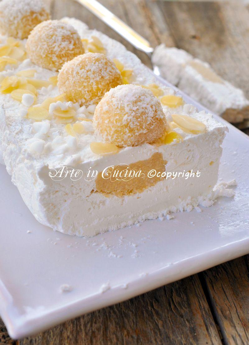 Torta gelato raffaello senza gelatina vickyart arte in cucina